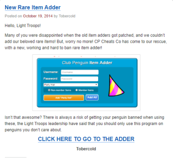 Light Troops leader Tobercold endorsed the use of an Item Adder, which