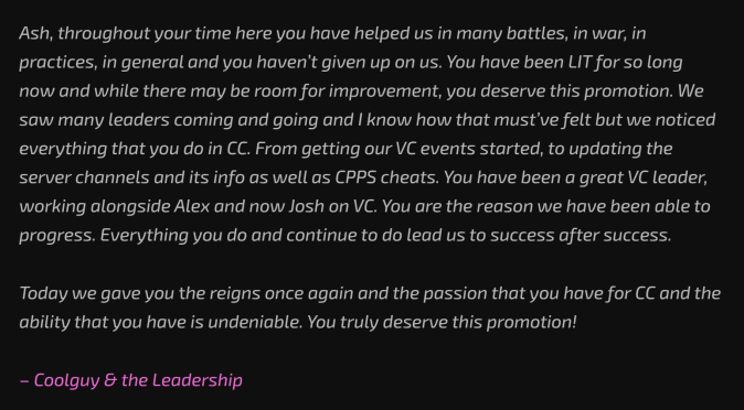 Ash Promoted to Leader